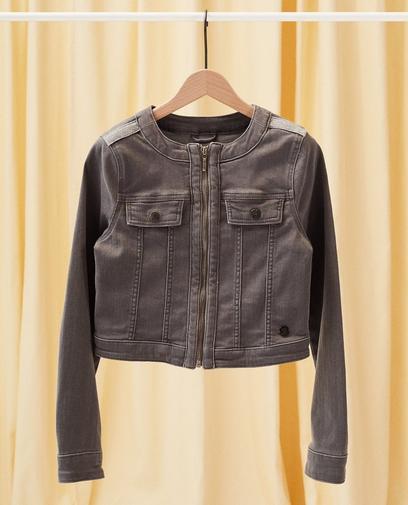 Jeansjacke mit Glitzerstreifen